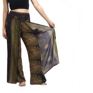 Pants - Open Leg Boho Harem Pants in Brown